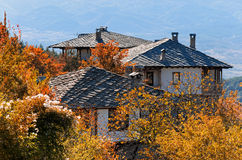 Old rural houses. Old traditional rural houses with stone roofs in Leshten, Bulgaria during autumn Royalty Free Stock Photo