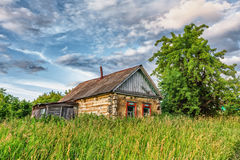 Old rural hut. Old abandoned rural hut in russian countryside Royalty Free Stock Photo