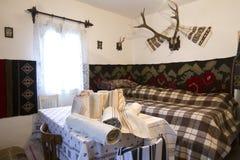 Old rural interior house of Bucovina-Romania. Stock Photo