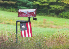 Old Rural Mailbox with Antique Flag Royalty Free Stock Photos