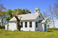 Old rural one-room schoolhouse. A one room rural school brings back the memories of the 3 R's: reading, riting, and arithmetic royalty free stock images