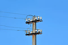 Old rural power lines pylon Stock Photography