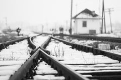 Old, rural railroads and railway station in winter Royalty Free Stock Photos