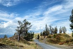 Old rural road in a mountain pass Stock Image
