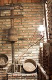 Old rural village interior. Village indoor, wall and rural objects Stock Image