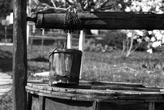 Old rural well. In black and white Royalty Free Stock Photography