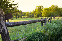 Old rural wooden fence on beauty landscape view Royalty Free Stock Photo