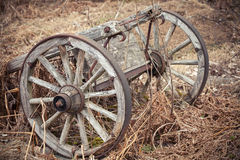 Old rural wooden wagon on grass Stock Photo