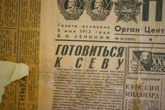 An old russia newspaper from 1912 royalty free stock photography