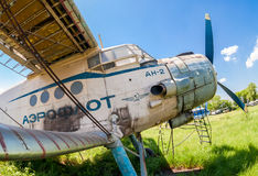 Old russian aircraft An-2 at an abandoned aerodrome Stock Images