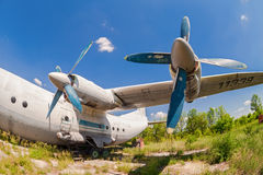 Old russian aircraft An-12 Stock Photo