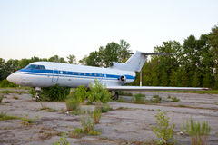 Old russian airplane  is on the disused airfield Stock Image