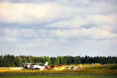 Old russian airplanes on green grass Stock Images