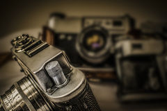 Old Russian analog film cameras with manual controls Royalty Free Stock Photo