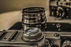 Old Russian analog film cameras with manual controls Royalty Free Stock Image