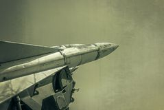 Old russian antiaircraft defense rocket launcher missiles Royalty Free Stock Photos