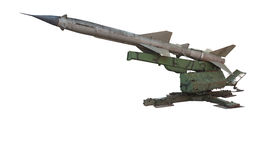 Old russian antiaircraft defense rocket launcher missiles isolat. Ed over white background Stock Image