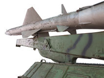 Old russian antiaircraft defense rocket launcher missiles isolat Stock Photography