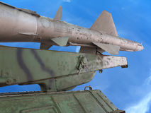 Old russian antiaircraft defense rocket launcher over blue sky Royalty Free Stock Photo