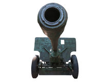 Old russian artillery cannon gun isolated over white. Background Stock Photo