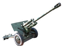 Old russian artillery cannon gun over white Royalty Free Stock Photos