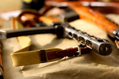Old russian automatic weapons rifle guns. Army USSR weapons lying on a military table Stock Photography