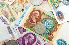 Old Russian banknotes and coins Royalty Free Stock Photos