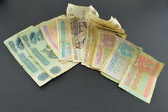 Old russian banknotes. Old russian money on black background Royalty Free Stock Photo