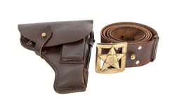 Old russian belt and holster on white background Stock Photography