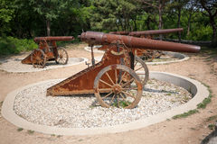 Old Russian cannons on wheels Royalty Free Stock Photos