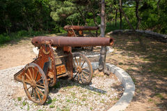 Old Russian cannons on wheels. Old cannons on wheels Russian-Japanese war of 1904-1905 in Lushun (Russian name of Port Arthur). East China Stock Photography