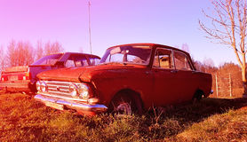 Old russian car on the field Stock Photography