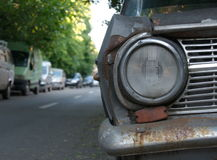Old russian car. Old rusiann car abandoned in parking Royalty Free Stock Photo