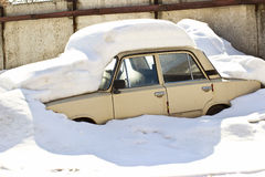 Old Russian car under snow Stock Photography