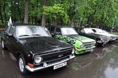 Old Russian cars of different colors Royalty Free Stock Photos