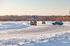 Old Russian cars Lada 2101 and 2104 prepared for racing drive on the ice on a frozen lake, drifting and moving in a skidder in a. Novosibirsk, Russia - 02.02 royalty free stock image