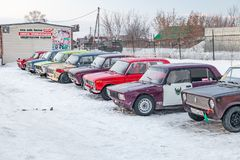 Old Russian cars Lada 2101 and 2104 prepared for racing standing on parking and waiting for  drifting and moving in a skidder in a. Novosibirsk, Russia - 02.02 royalty free stock photo