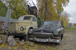 Old Russian cars Volga GAZ 21 and truck GAZ51 Stock Photo