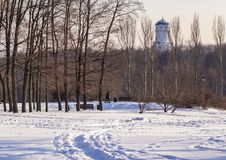 The old Russian church behind the trees. Royalty Free Stock Photos