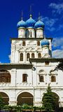 Old Russian church with blue domes Royalty Free Stock Images