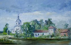 Oil painting of an old Russian church on Seliger lake, NIlostolobenskiy monastery stock illustration