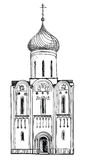 Old Russian Church isolated. Hand drawn  illustration. The Golden Ring of Russia. Royalty Free Stock Photos