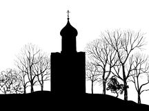 Old Russian Church silhouette. Old russian town landscape hand drawn  illustration. The Golden Ring of Russia. Royalty Free Stock Images