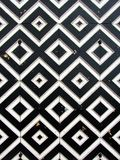 Old russian city gate. Close-up of geometrical pattern Stock Photo