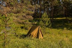 Old Russian cloth tent on the field in the Republic of Altai stock image