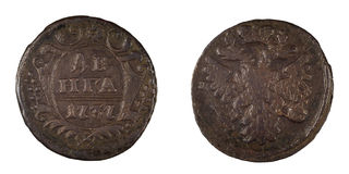 Old russian coin Denga 1737 isolated Stock Photos