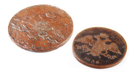 The old russian coins. Two old russian coins of 10 and 5 copecks Royalty Free Stock Photography