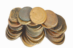 Old russian coins. On the white background Royalty Free Stock Image