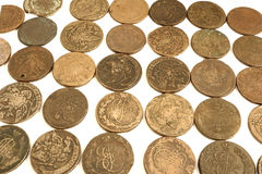 Old russian coins. On the white background Royalty Free Stock Images
