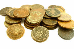 Old russian coins. On the white background Stock Images